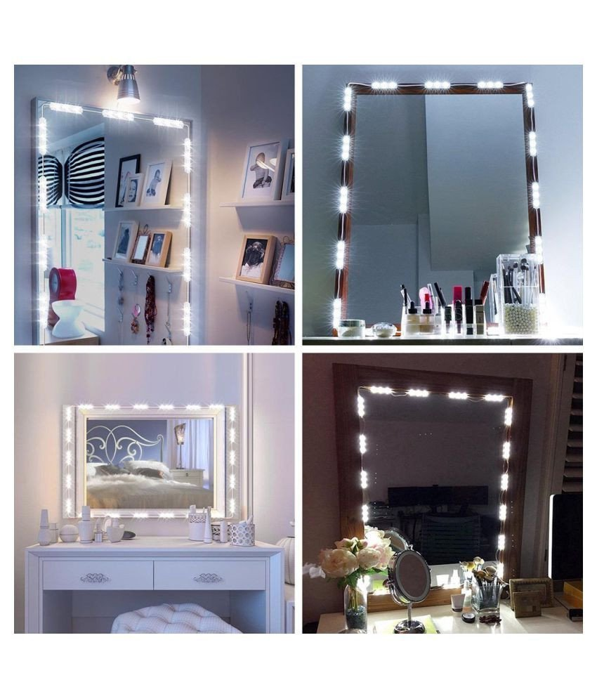 Make Up Vanity for Bedroom Elegant Dimmable 60 Led Vanity Light Kits Cosmetic Makeup Mirror
