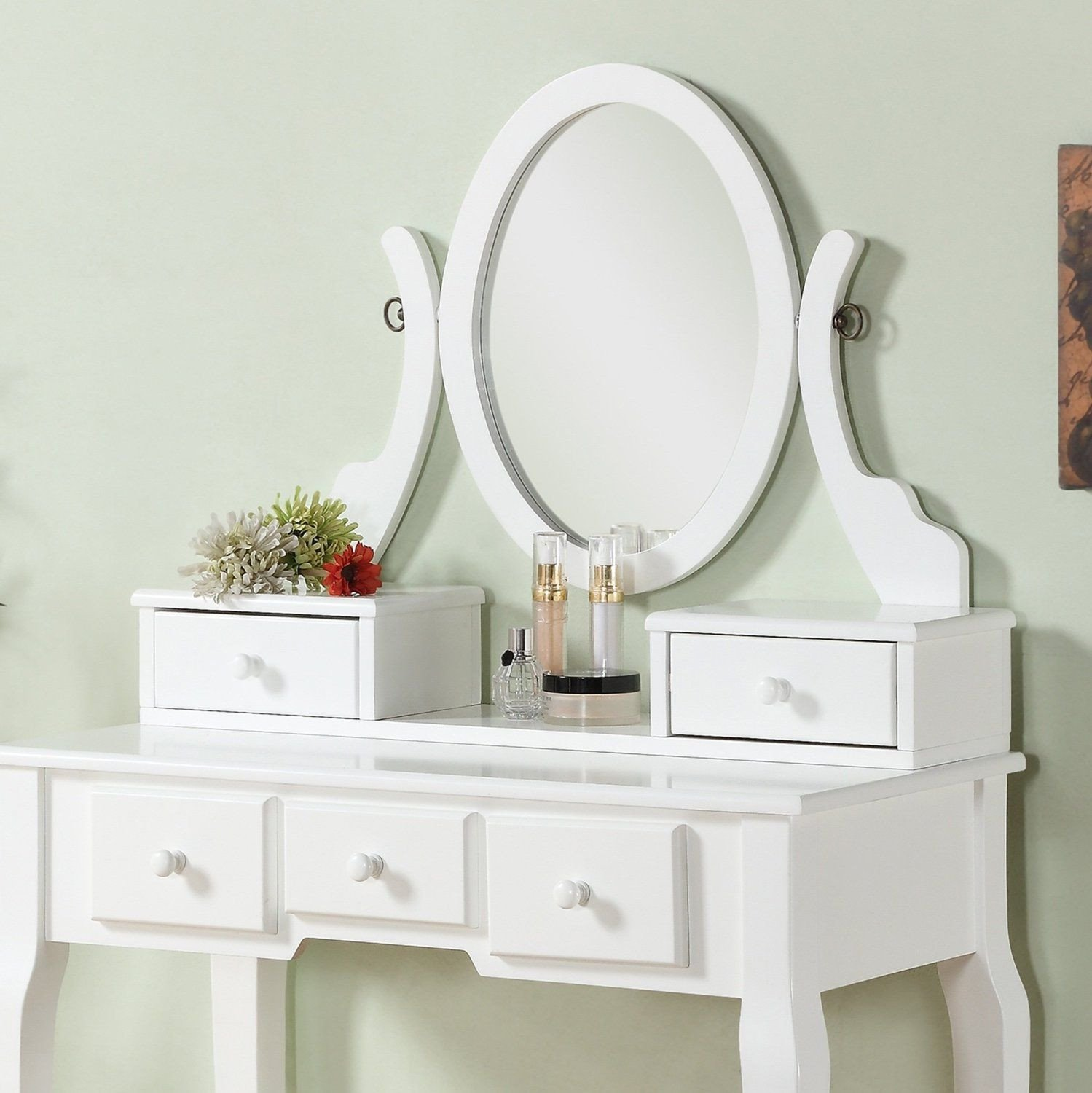 Make Up Vanity for Bedroom Lovely Roundhill Furniture ashley Wood Make Up Vanity Table and