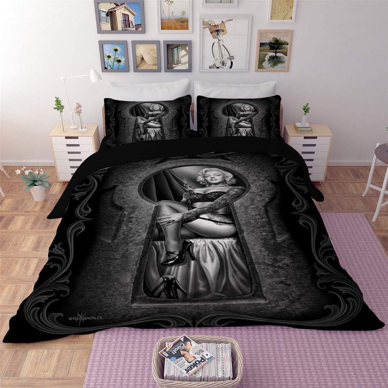 Marilyn Monroe Bedroom Set Lovely Amtan 3d Marilyn Monroe Duvet Cover Set Y Marilyn Monroe Smile Bedding Set Black Skull Print Bed Set 3pc 1duvet Cover 2pillowcase King Queen Full