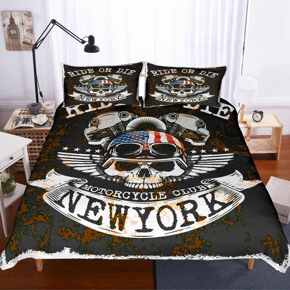 Marilyn Monroe Bedroom Set Unique 3d Skull Eagle Motorcycle Club Ride or Die Printed Black White Bedding Set 3 Pieces with 2 Pillowcase Microfiber Duvet Cover Set