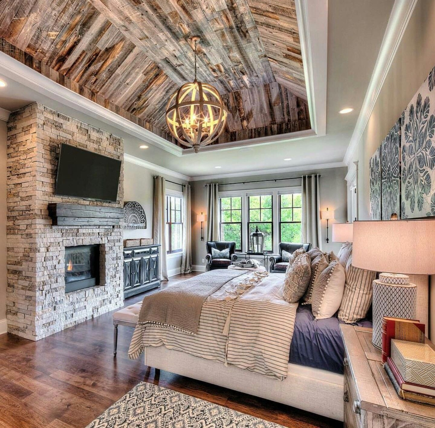 Master Bedroom with Fireplace Awesome Great Mix Of Rustic and Luxury In This Starr Homes Master