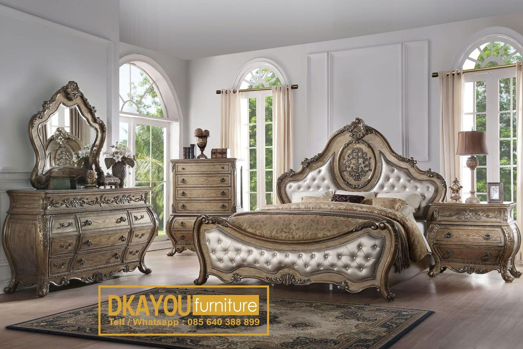 Michael Amini Bedroom Set Luxury Set Kamar Tidur Mewah Klasik Eropa Terbaru Royal Wedding Bed