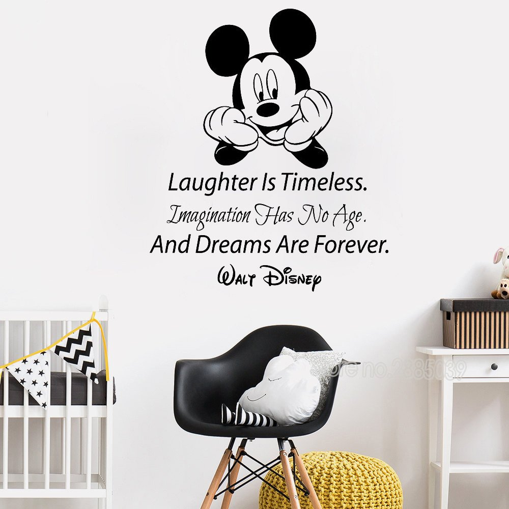 Mickey Mouse Bedroom Decorations Beautiful Mickey Mouse Quote Wall Decals Laughter is Timeless Words