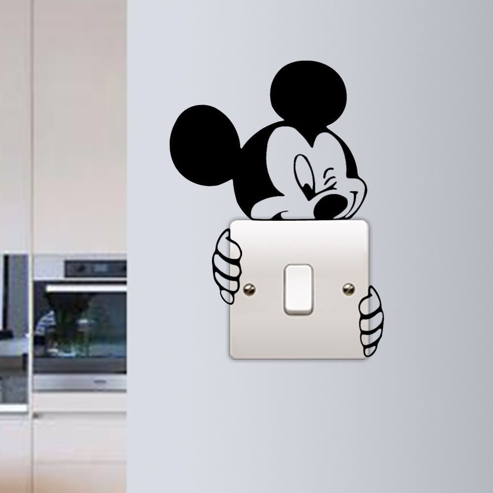 Mickey Mouse Bedroom Decorations New Mickey Mouse Wall Sticker Switch Vinyl Decal Funny