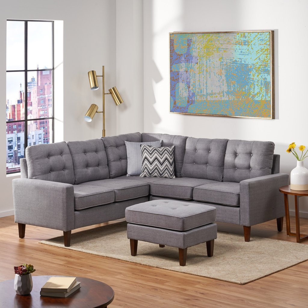 Mid Century Modern Bedroom Best Of Niya Mid Century Modern 4 Piece Sectional sofa with Ottoman