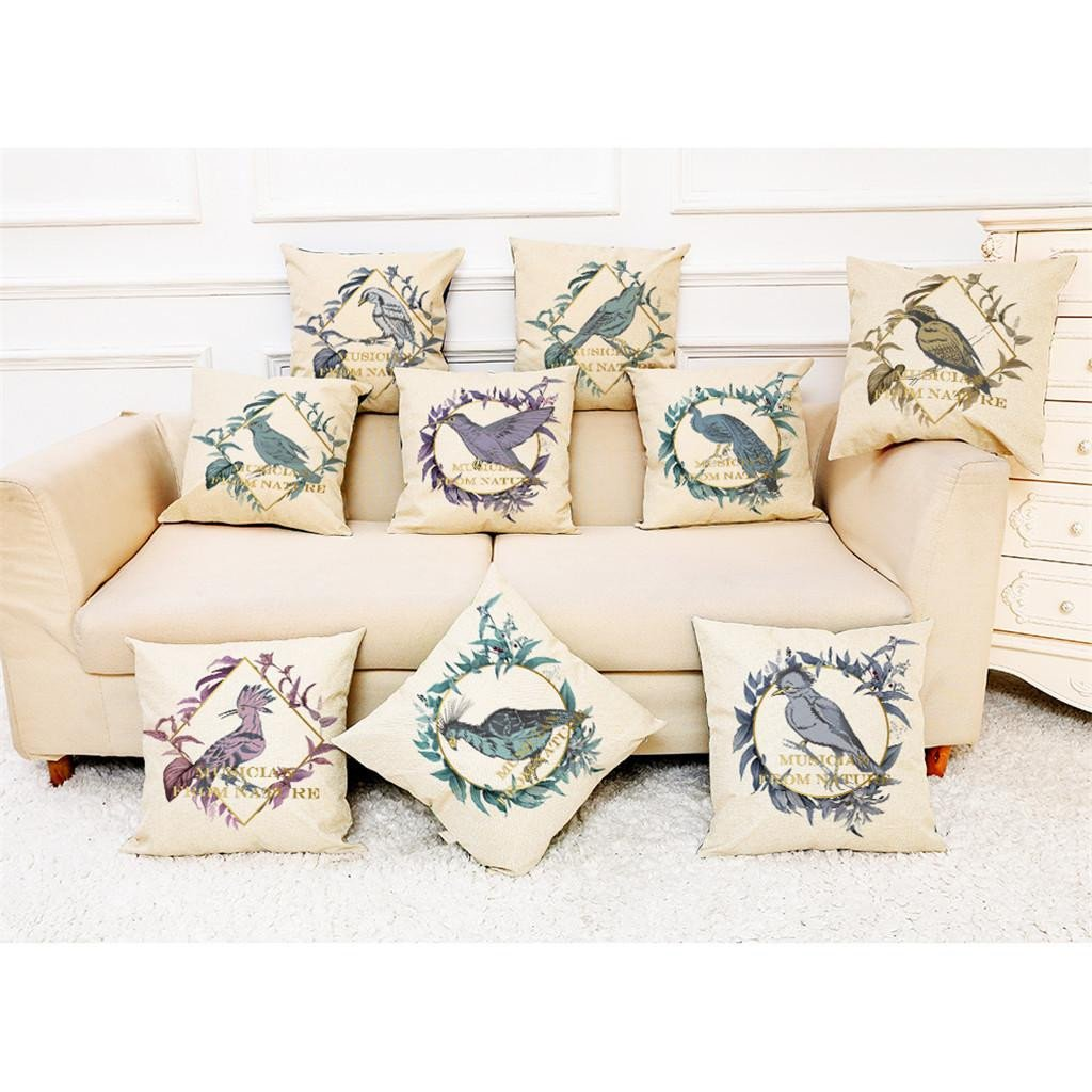 Mini Couch for Bedroom Beautiful 2019 Bird Letter Print Square Pillowcase Pillow Case Linen Fiber Cushion sofa Cushion Cover Home Decoration 45x45cm L614 Outdoor Lounge Chair Cushions