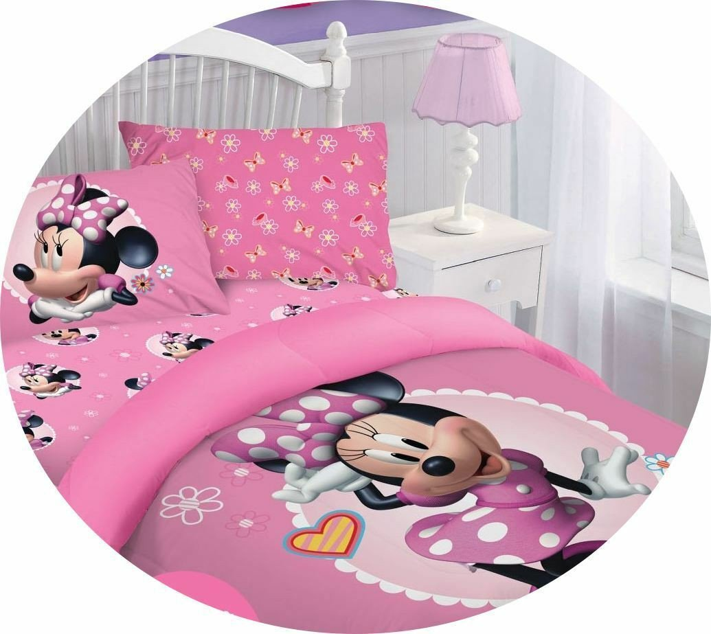 Minnie Mouse Bedroom Set Luxury Disney Cartoons Bedding Bed forter Set Kids Teens Girls Pink Minnie Mouse
