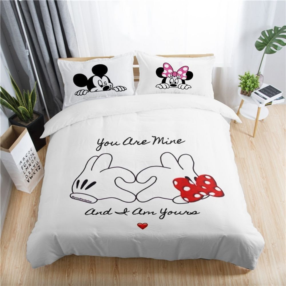 Minnie Mouse Twin Bedroom Set Beautiful Disney Mickey Minnie Valentine Romantic Duvet Cover Set King