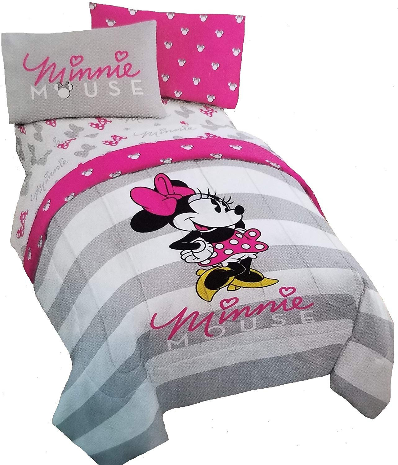 Minnie Mouse Twin Bedroom Set Elegant Disney Minnie Mouse 4pc Pink & Gray Reversible Twin forter and Sheet Set