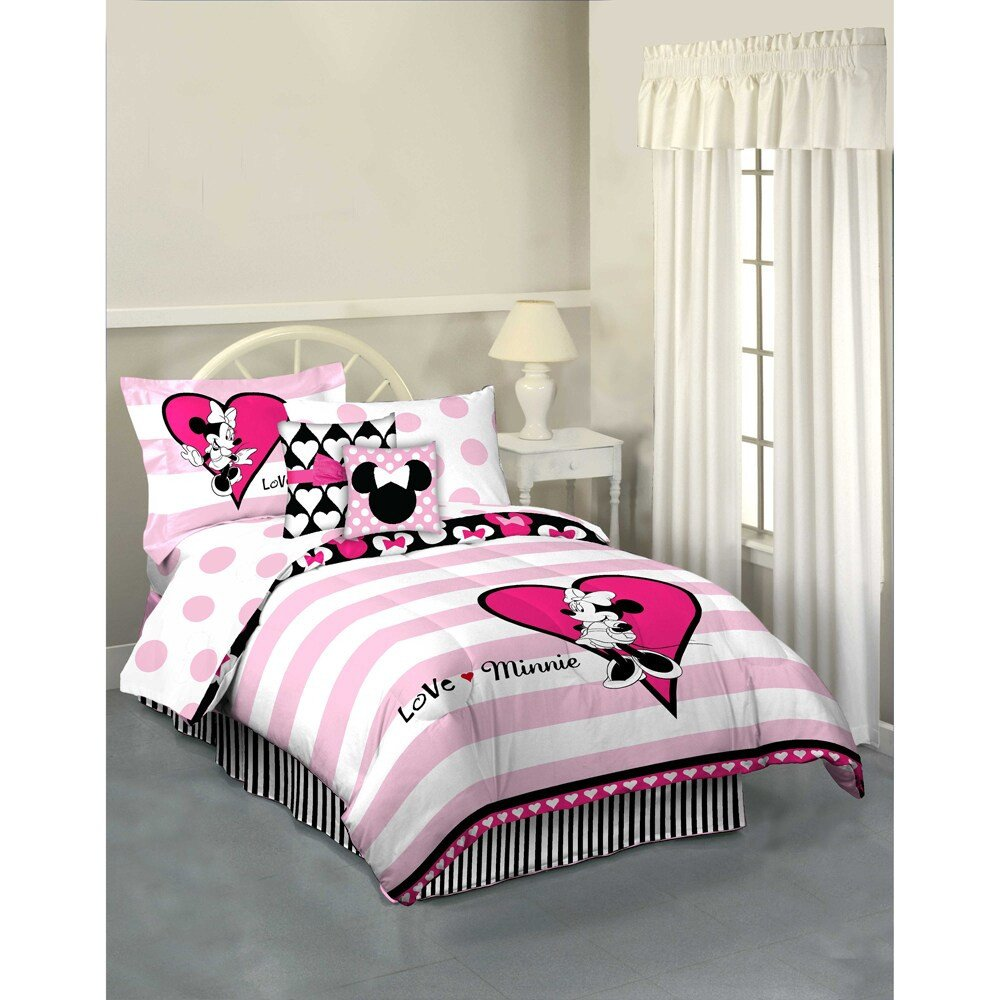Minnie Mouse Twin Bedroom Set New Minnie Mouse Hearts and Dots 7 Piece Reversible Bed In A Bag with Sheet Set
