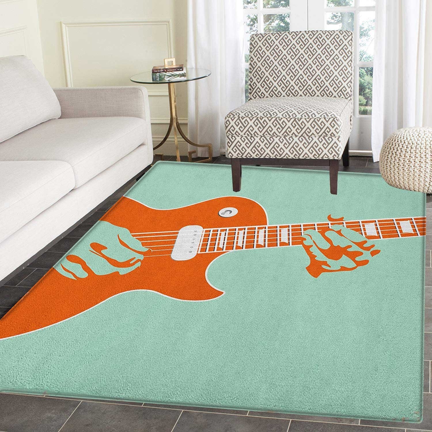 Mint Green Bedroom Decorating Ideas Luxury Amazon Guitar area Rug Carpet Creative Musician Playing