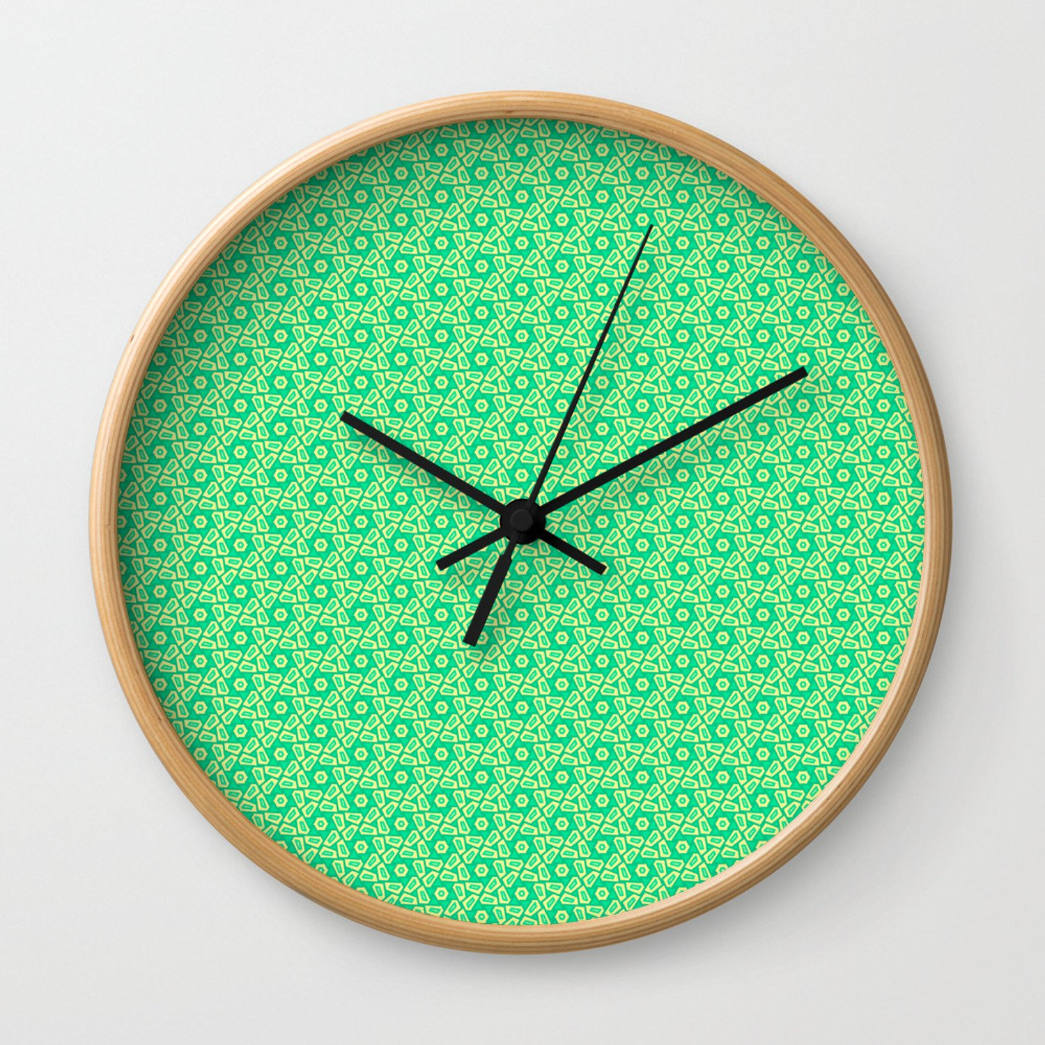 Mint Green Bedroom Walls Awesome Fragmented Turquoise Mint Green Hexagons with butter Cream Yellow Geometric Country Design Pattern Wall Clock