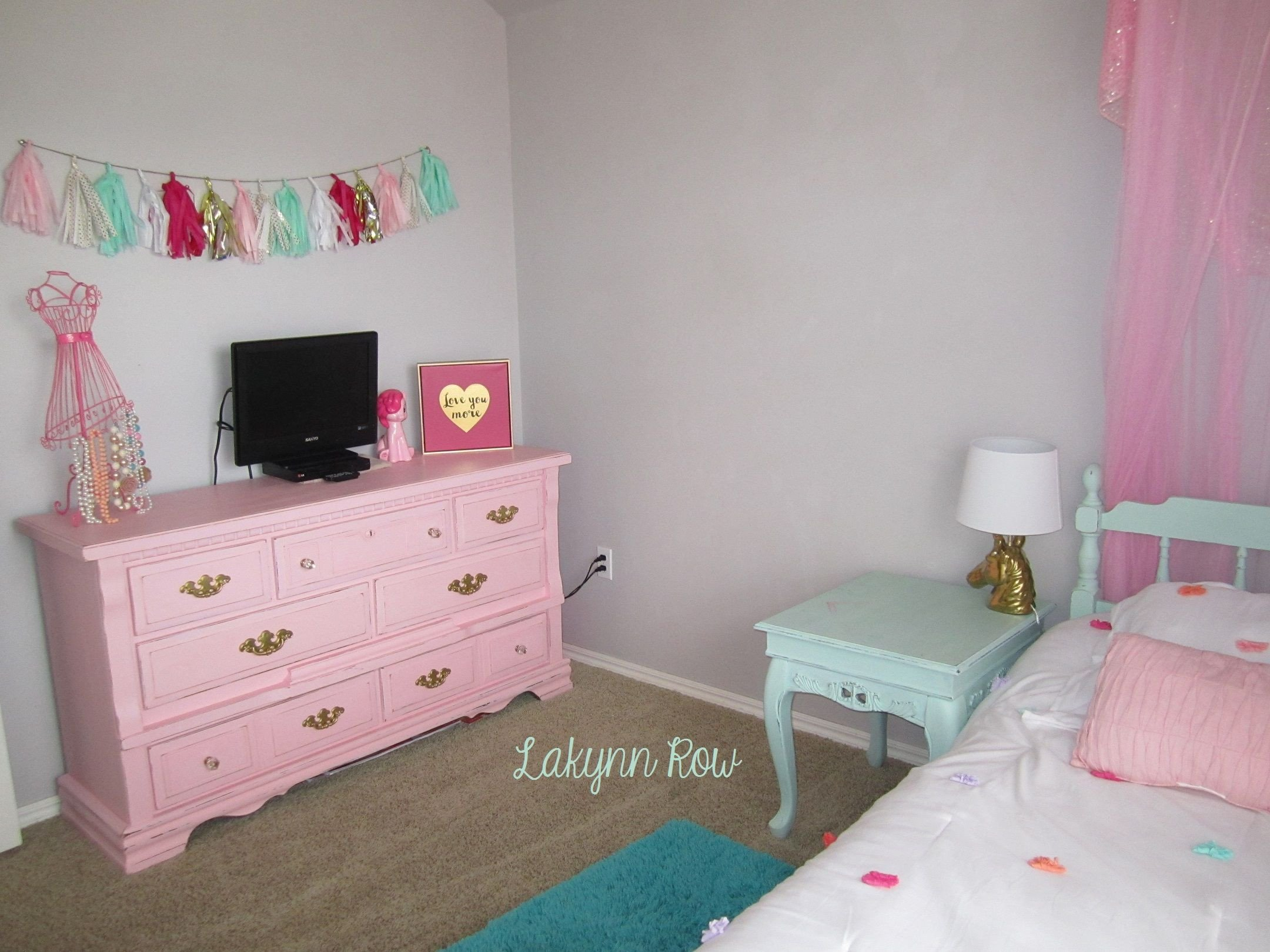 Mint Green Bedroom Walls Lovely My Daughter S Pink Gold and Mint Room Furniture Painted