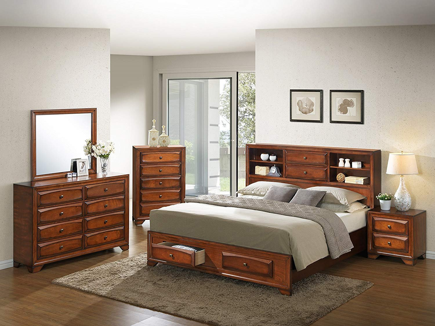 Mirror Bedroom Furniture Set Beautiful Roundhill Furniture asger Wood Room Set Queen Storage Bed Dresser Mirror Night Stand Chest