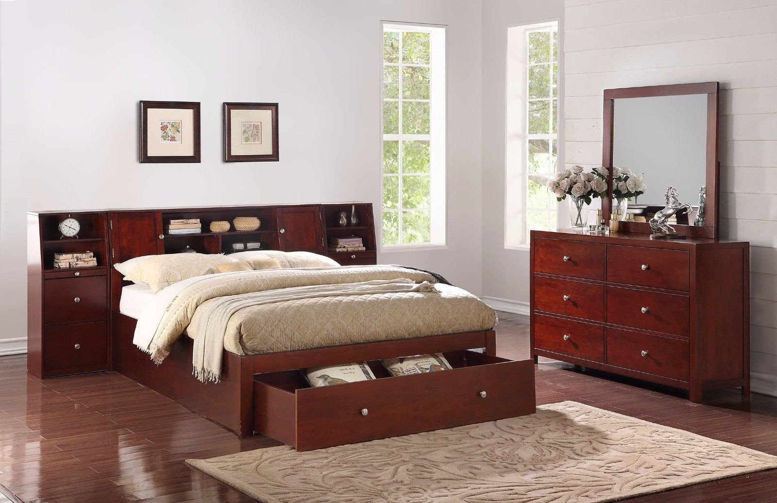 Mirror Bedroom Furniture Set Elegant Bedroom 4pc Set Queen Bed W Storage Drawer Shelf Nightstand