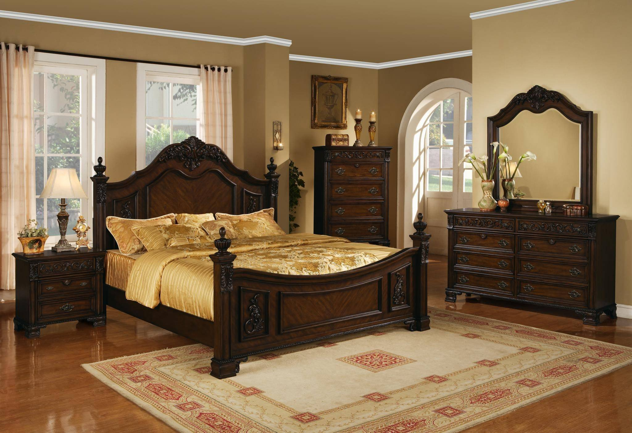 Mirror Bedroom Furniture Set New Myco Furniture Ke180k Kensington Dark Cherry Finish Luxury
