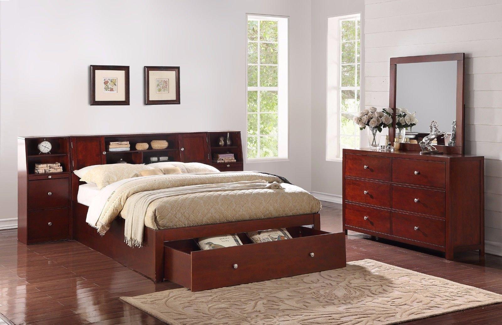 Mirrored Bedroom Furniture Set Beautiful Bedroom 4pc Set Queen Bed W Storage Drawer Shelf Nightstand