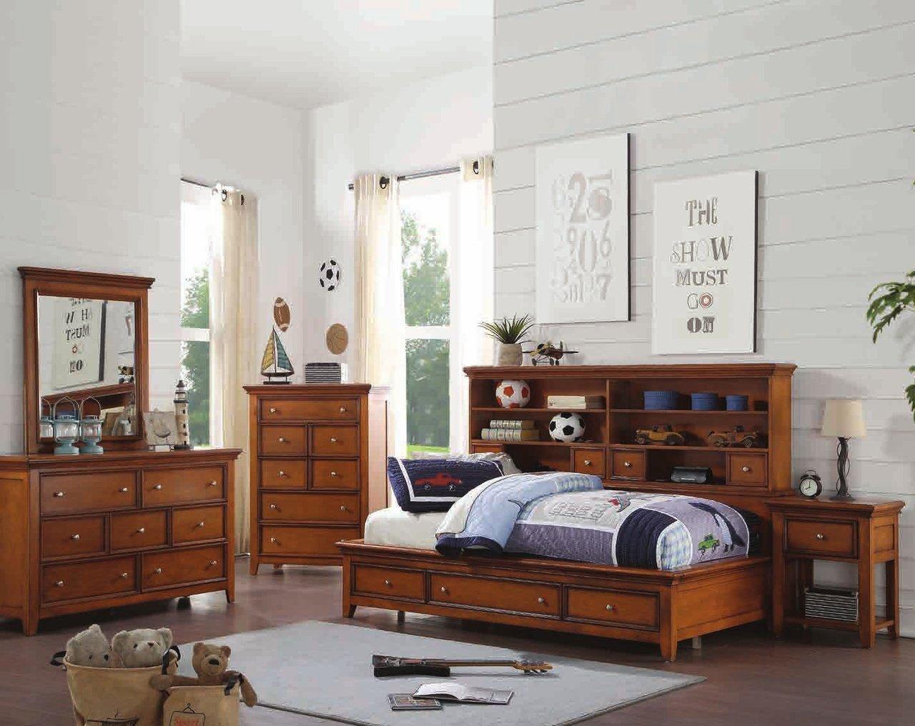 Mirrored Bedroom Furniture Set Fresh Acme Lacey 4pc Storage Bedroom Set In Cherry Oak