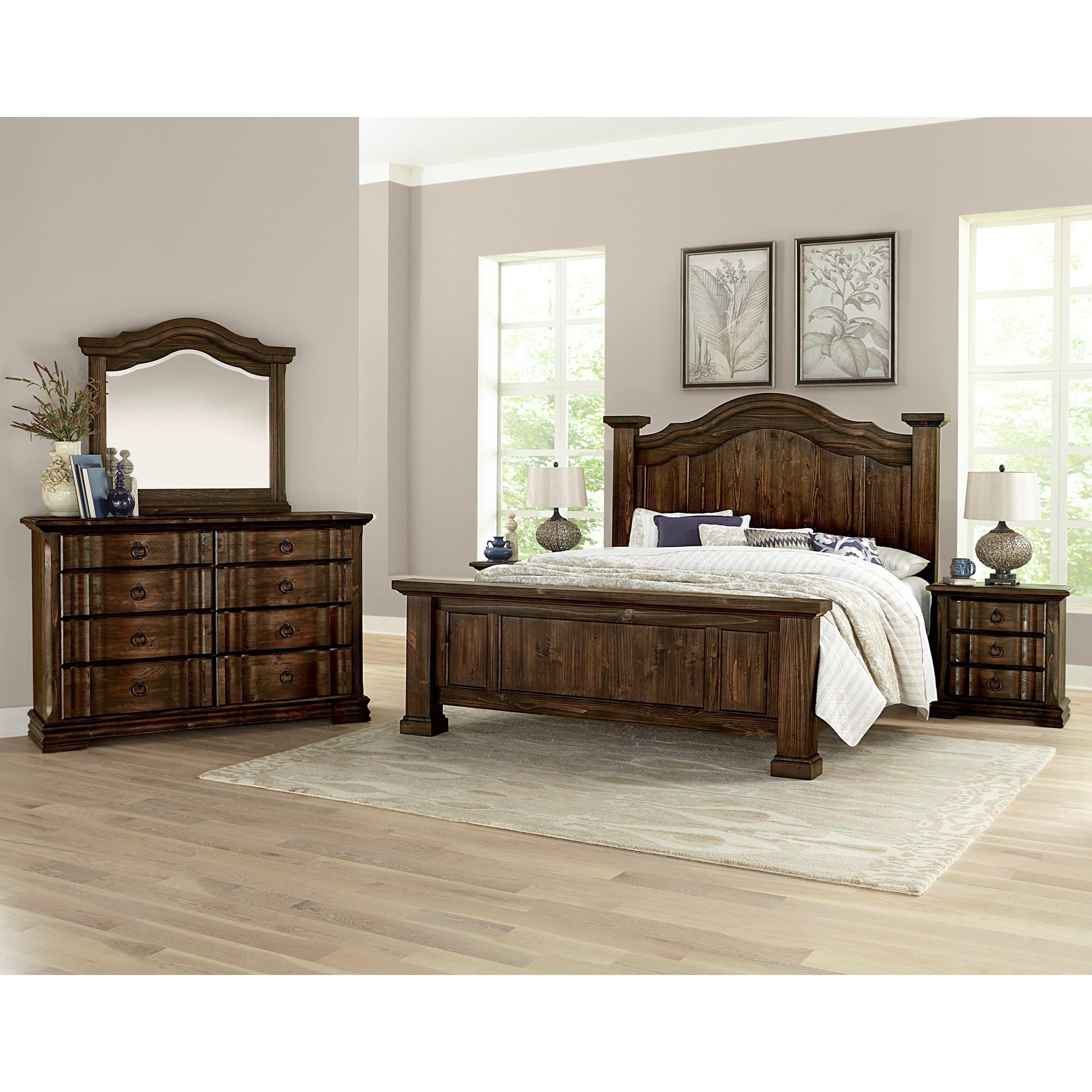 Mirrored Headboard Bedroom Set Luxury Rustic Hills King Bedroom Group by Vaughan Bassett