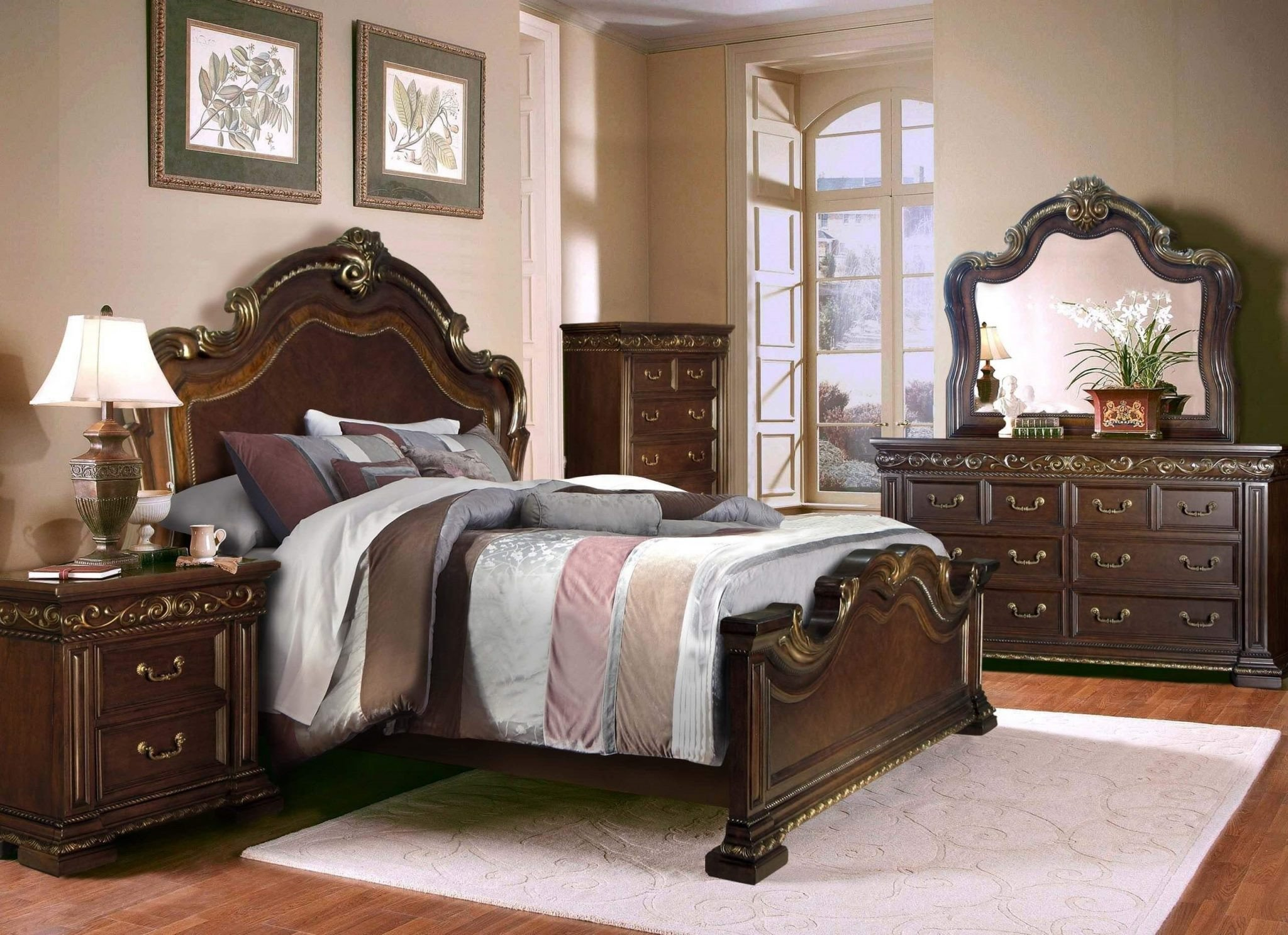 Mirrored Queen Bedroom Set Awesome Mcferran B538 Monaco Bed Brown Finish
