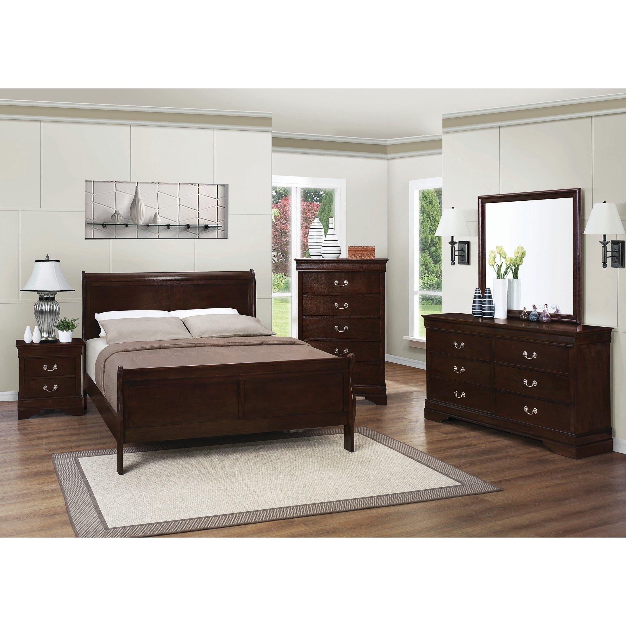 Mirrored Queen Bedroom Set Inspirational Louis Philippe Warm Brown 4 Piece Bedroom Set