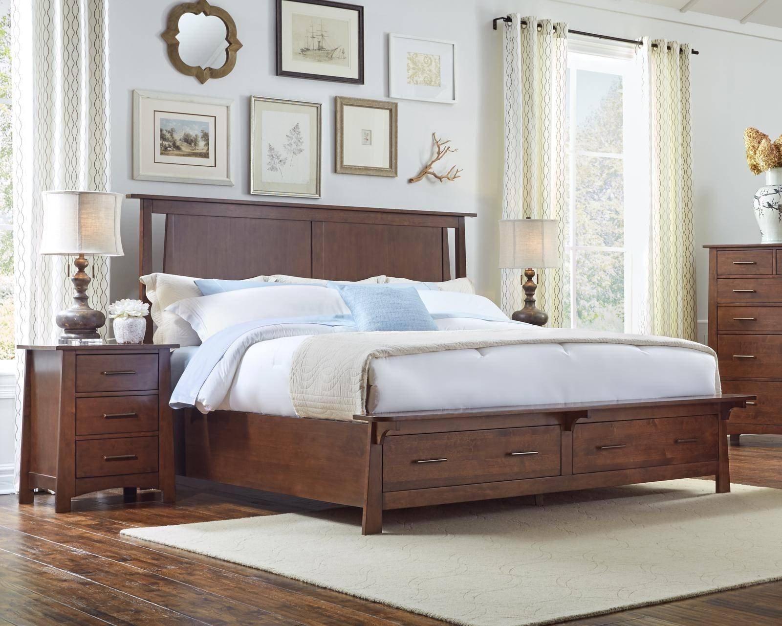 Mission Style Bedroom Furniture Luxury Modern King Storage Bedroom Set 5pcs Sumatra Brown sodwb5131