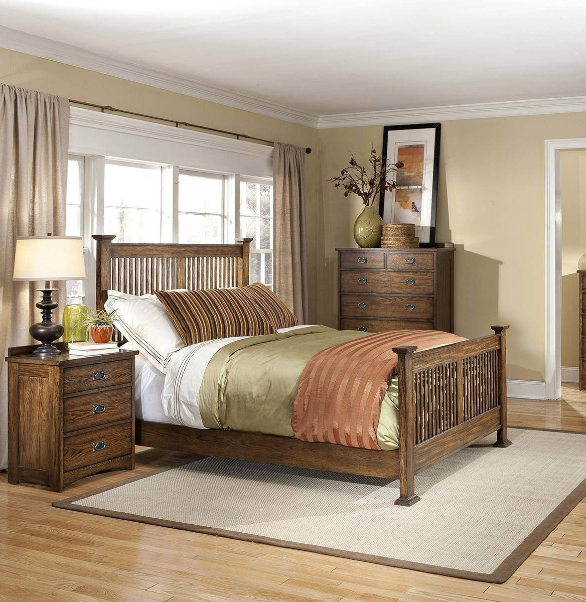 Mission Style Bedroom Furniture New A America Mission Hill King Panel Bed In Brown Harvest Wood