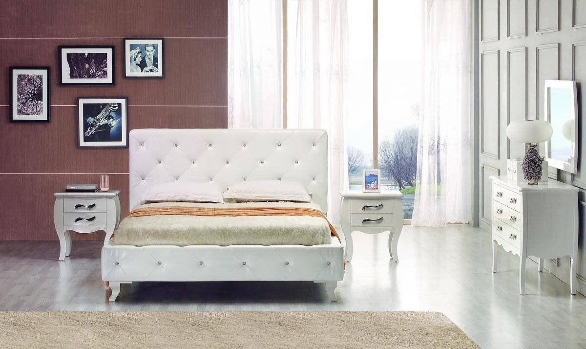 Monte Carlo Bedroom Set Elegant Vig Modrest Monte Carlo White Leatherette Crystals Tufted