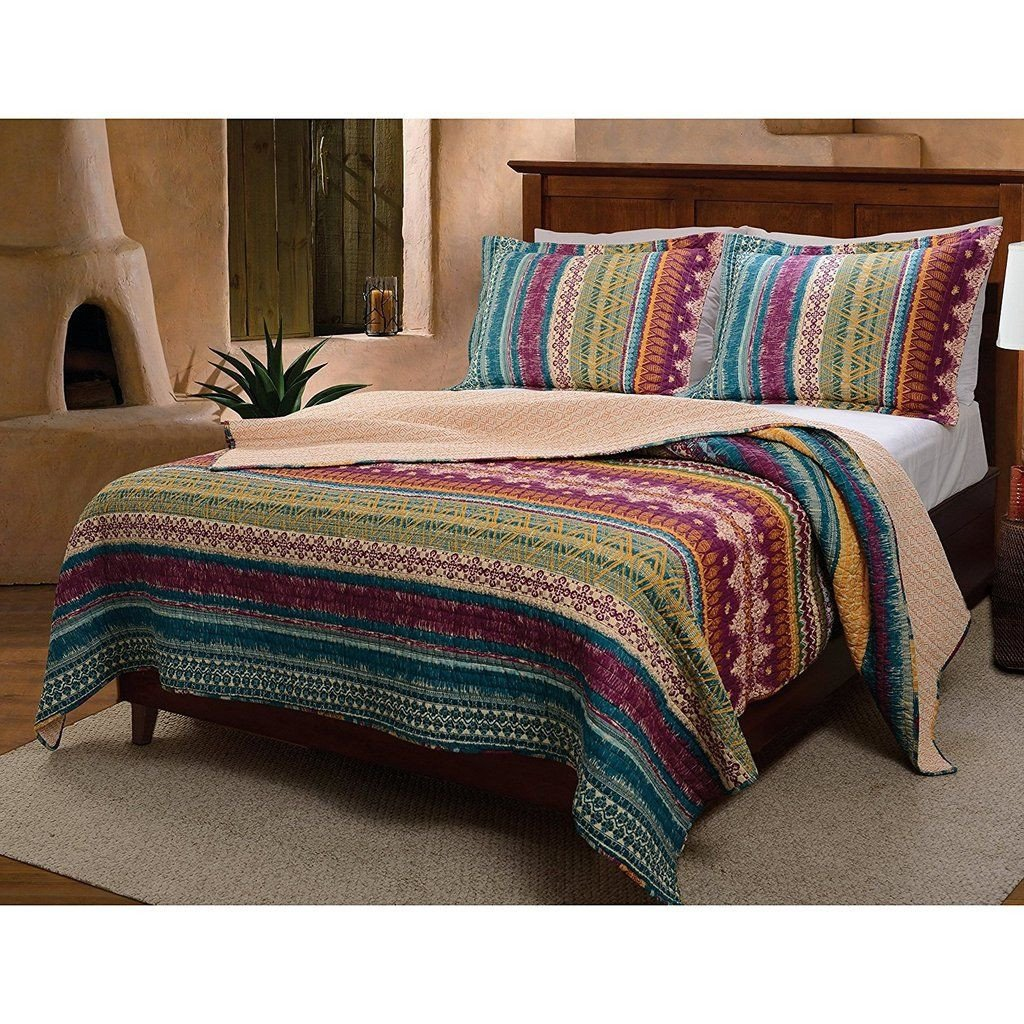Native American Bedroom Decor Awesome Color Bohemian Stripe Quilt Full Queen Set Horizontal
