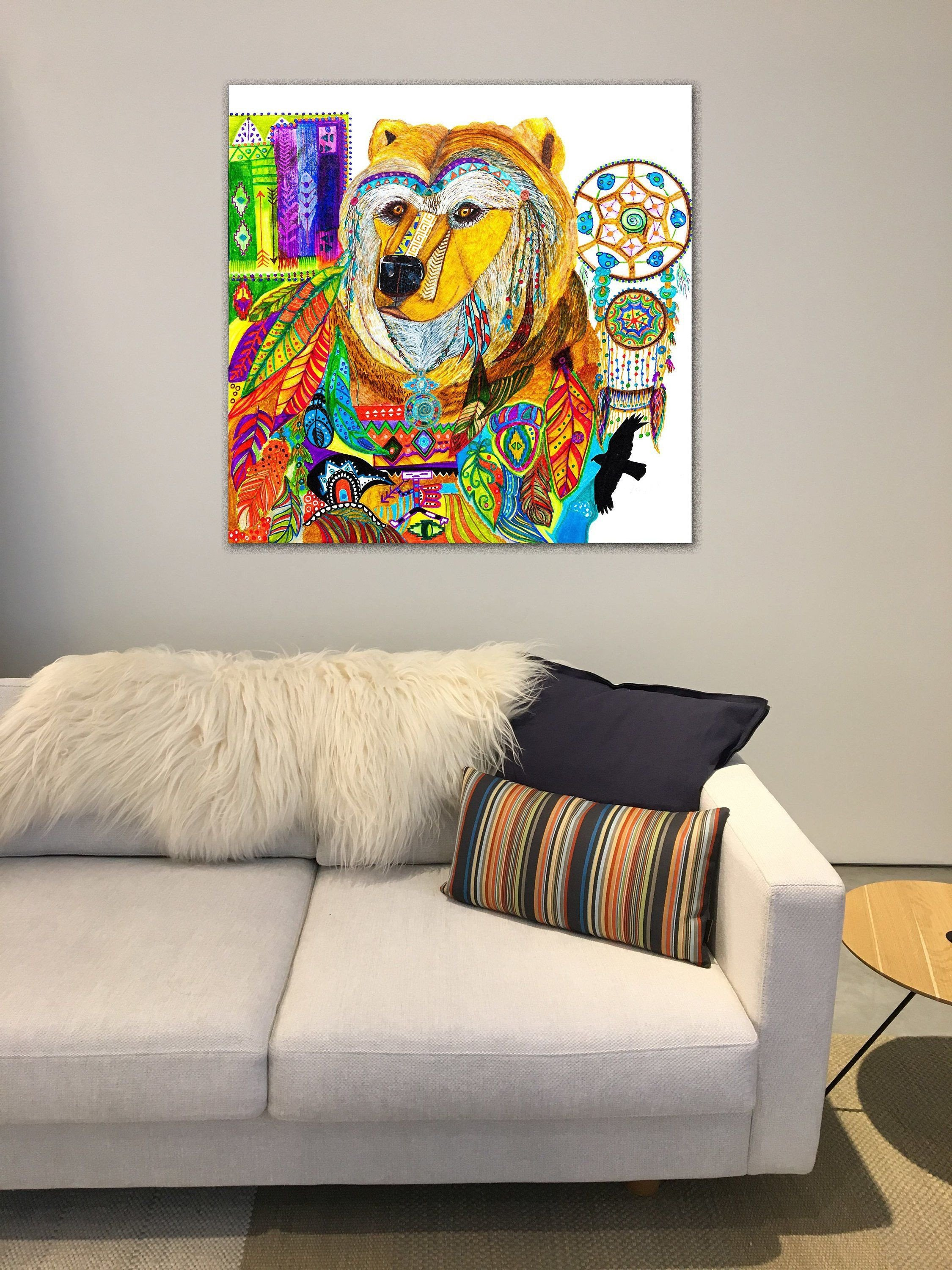 Native American Bedroom Decor Beautiful Bear Spirit Animal Abstract Art Painting Unframed Canvas