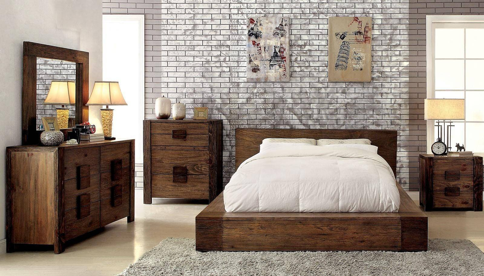 Natural Wood Bedroom Set Elegant Rustic Natural Finish Queen Bedroom Set 4 Pcs Janeiro