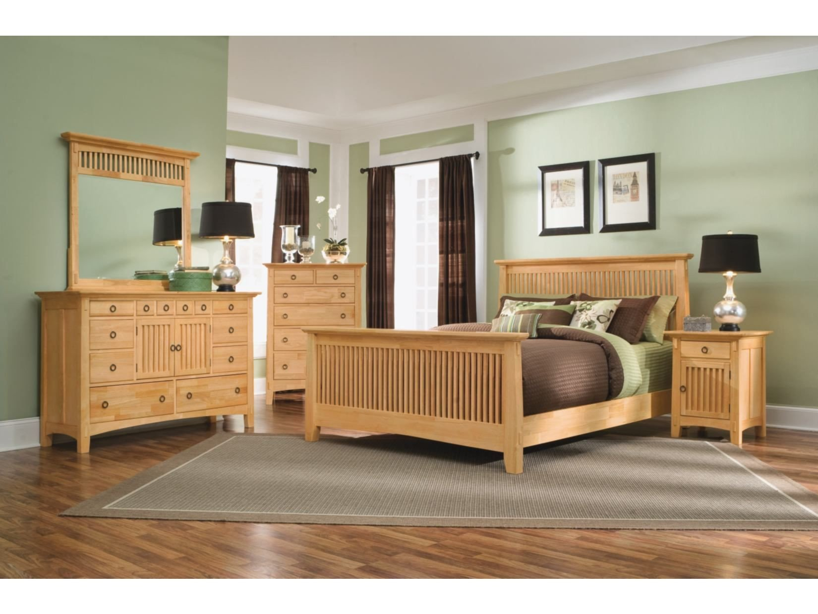 Natural Wood Bedroom Set Luxury Arts & Crafts 5 Pc Bedroom Package American Signature