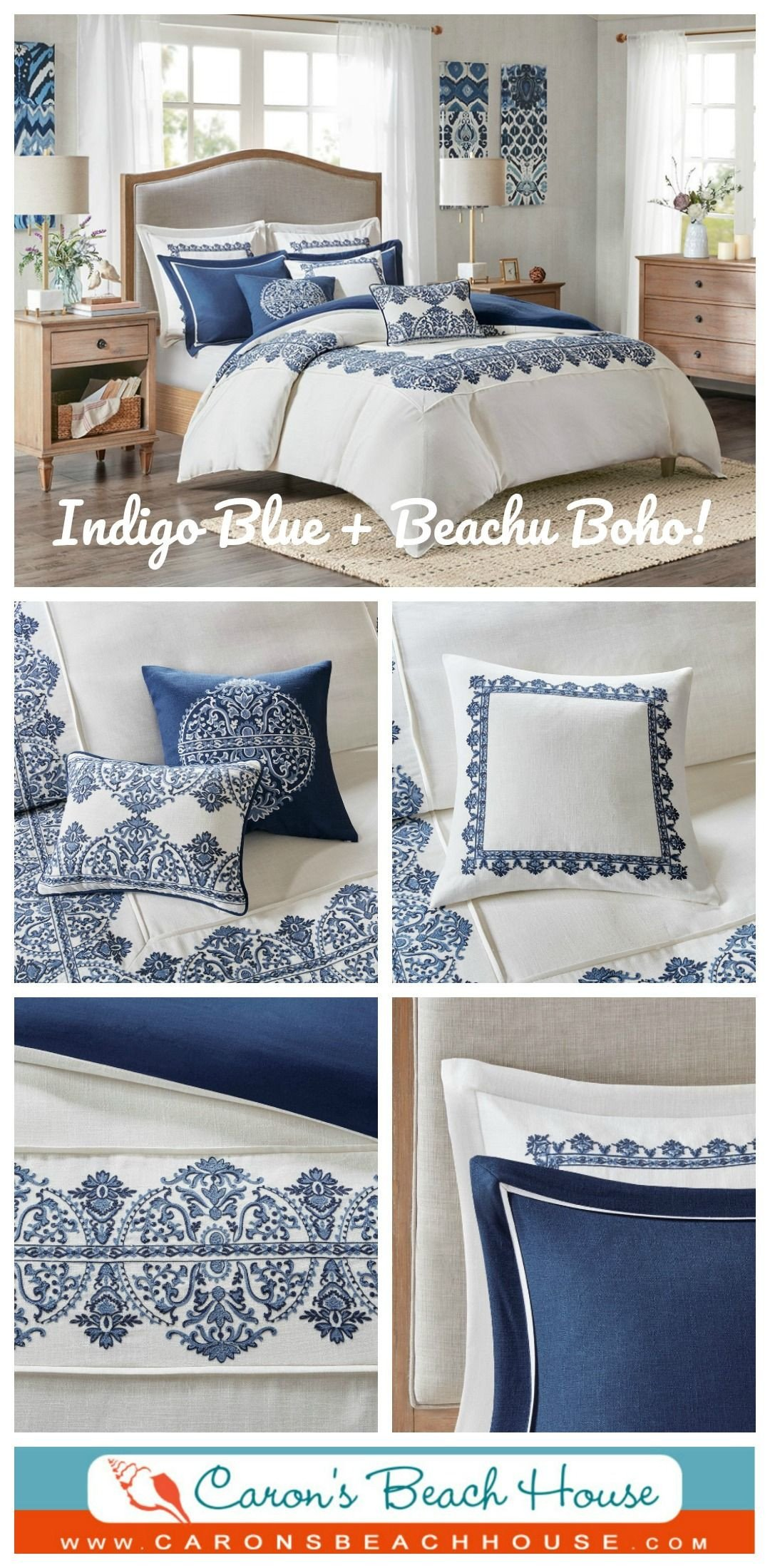 Navy and White Bedroom Fresh Indigo Skye Oversized Queen Size forter Set