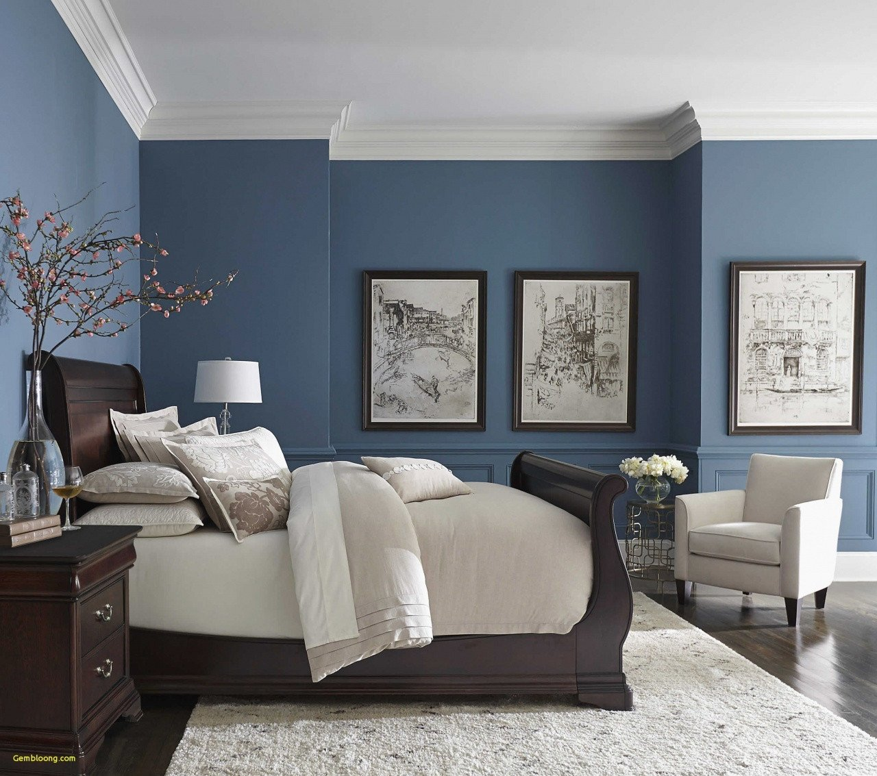 Navy Blue and Yellow Bedroom Elegant Bedroom Colors with Brown Furniture Decorating Ideas for
