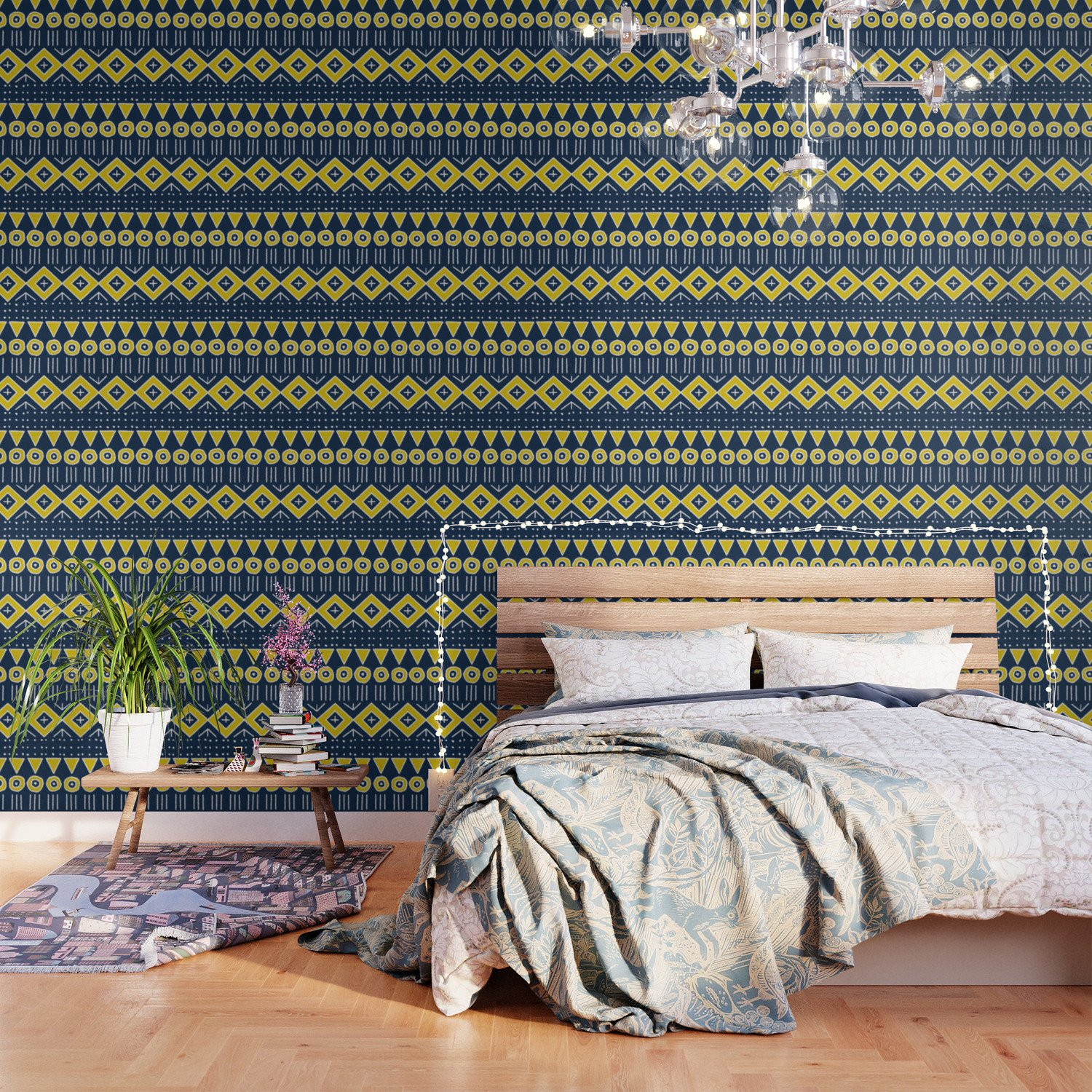 Navy Blue and Yellow Bedroom Lovely Mudcloth Style 2 In Navy Blue and Yellow Wallpaper