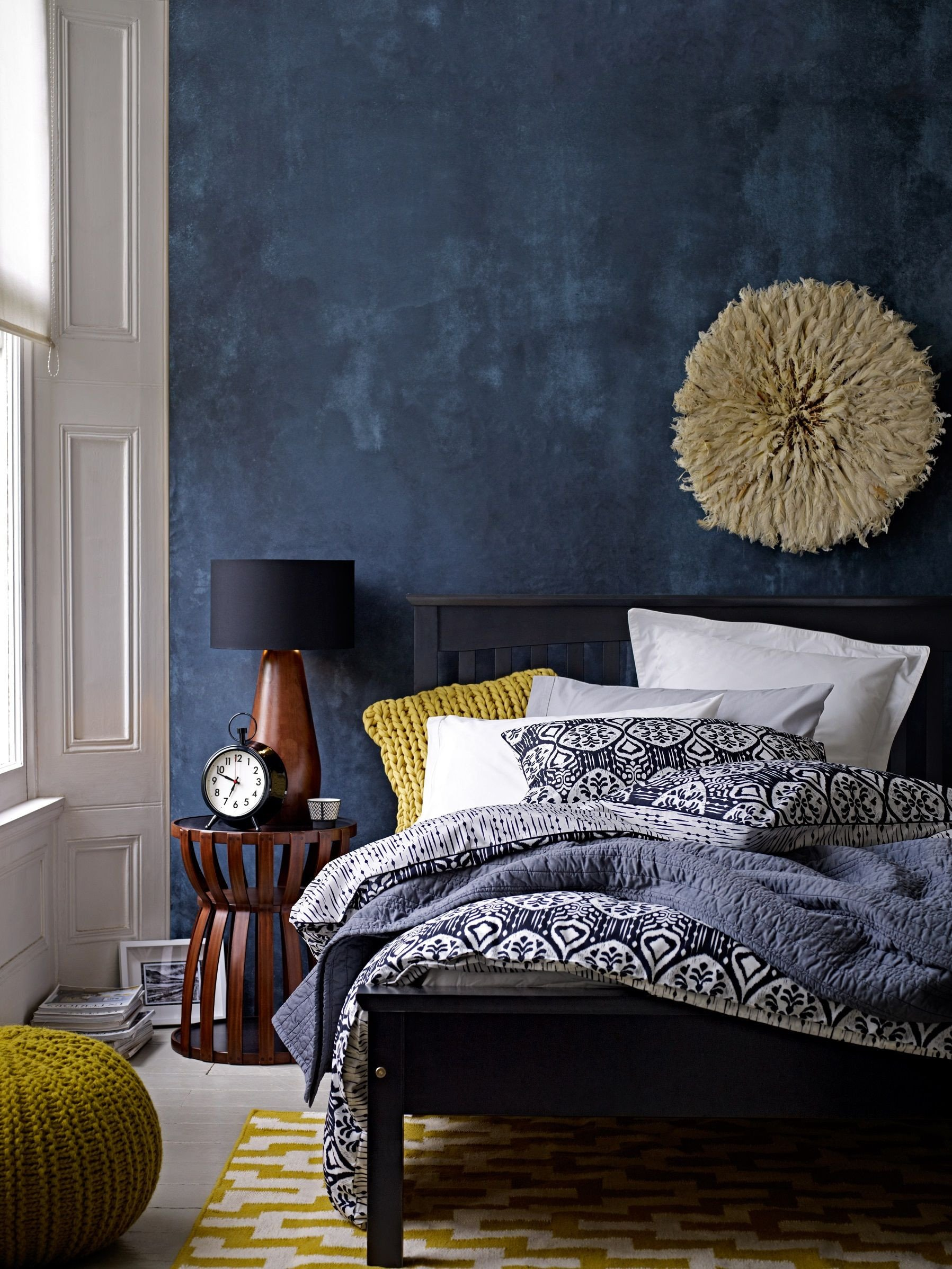 Navy Blue and Yellow Bedroom Luxury Deep Blue Accent Wall In Modern Eclective Bedroom Gorgeous