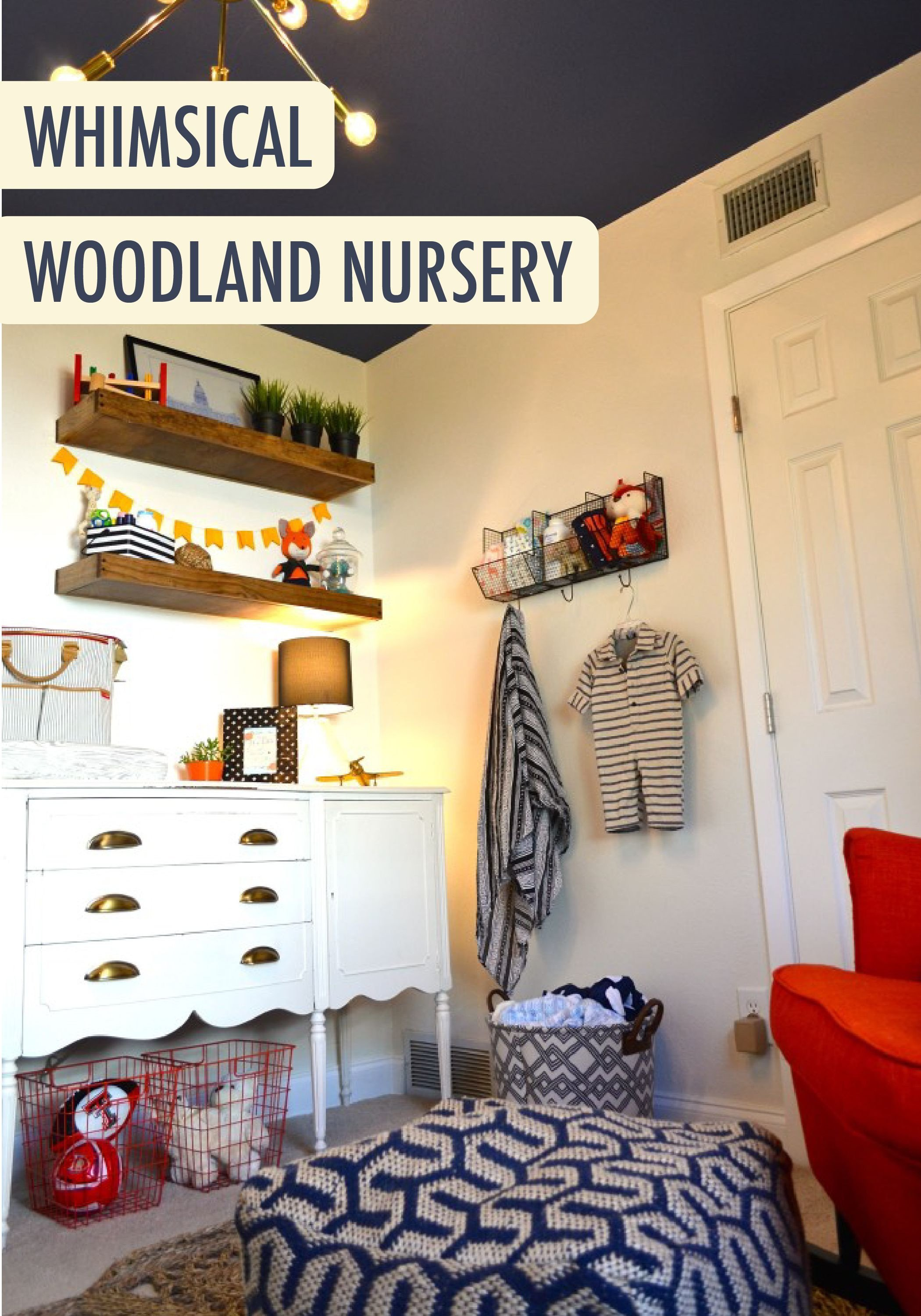 Navy Blue and Yellow Bedroom Unique Whimsical Woodland Nursery