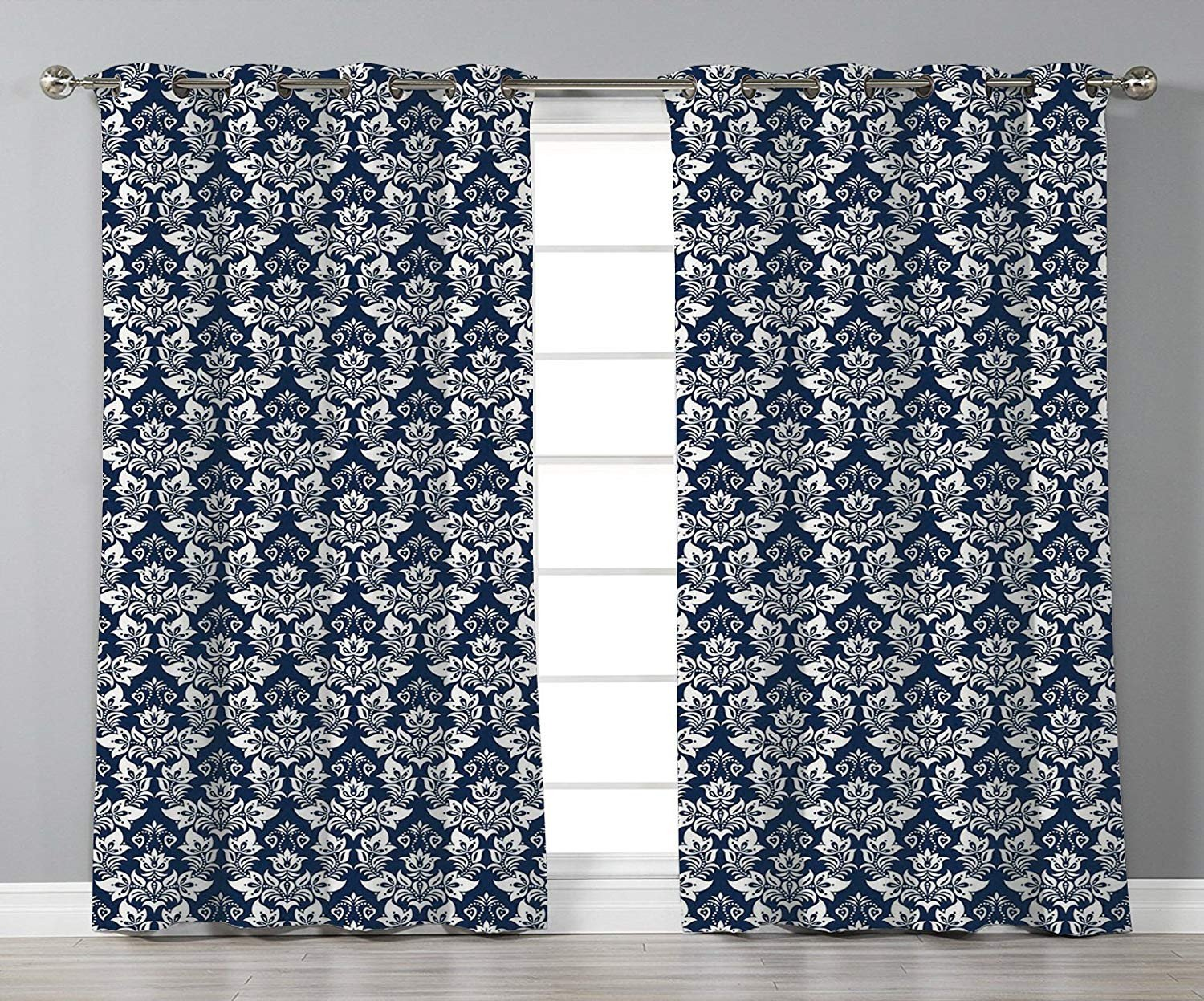 Navy Blue Curtains for Bedroom Awesome Amazon Stylish Window Curtains Damask Antique Floral