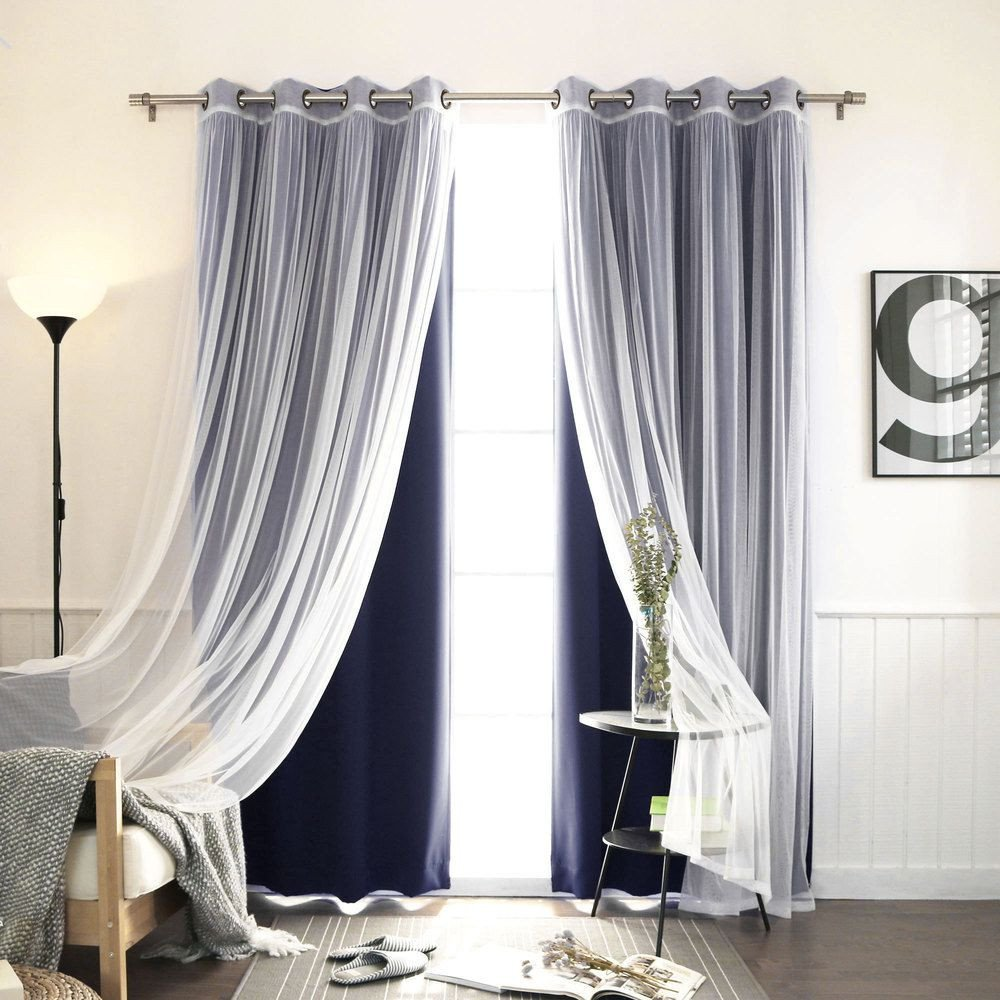 Navy Blue Curtains for Bedroom Elegant Aurora Home Mix & Match Curtains Blackout Tulle Lace Sheer