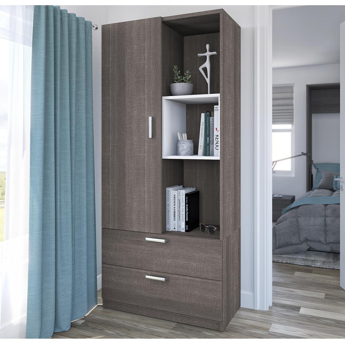 """Nebraska Furniture Mart Bedroom Set Lovely Bestar Cielo 36"""" Storage Unit In Bark Gray and White"""