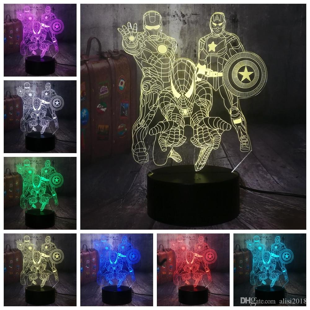 Night Lamp for Bedroom Beautiful 2019 Spiderman Captain 3d Led Night Light Kids toy Christmas Gift Desk Lamp Bedroom Decor From Alisi2018 $13 57