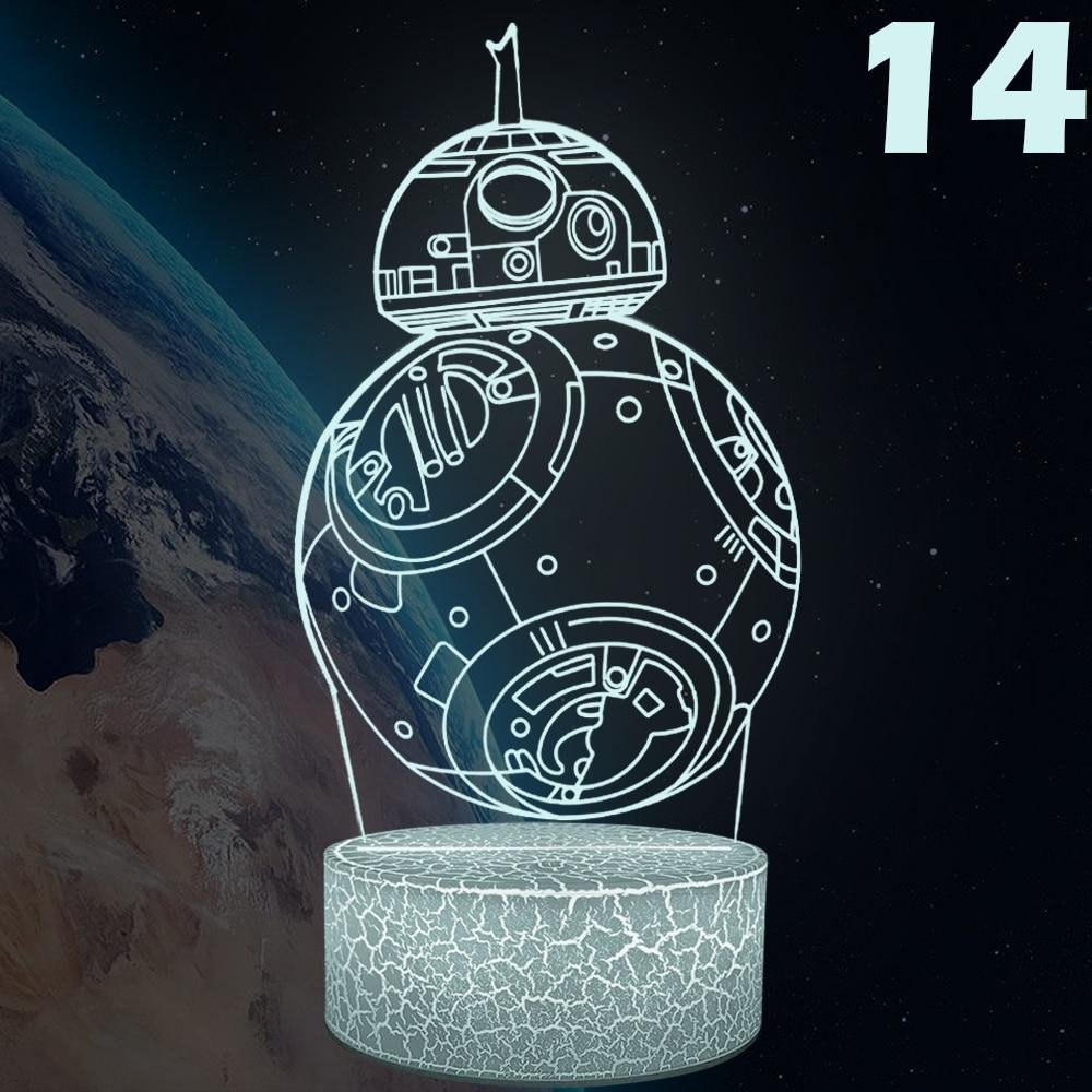 Night Lamp for Bedroom Elegant 3d Night Light Creative Illusion Visual Bb8 Lamp Led Bedroom Decoration