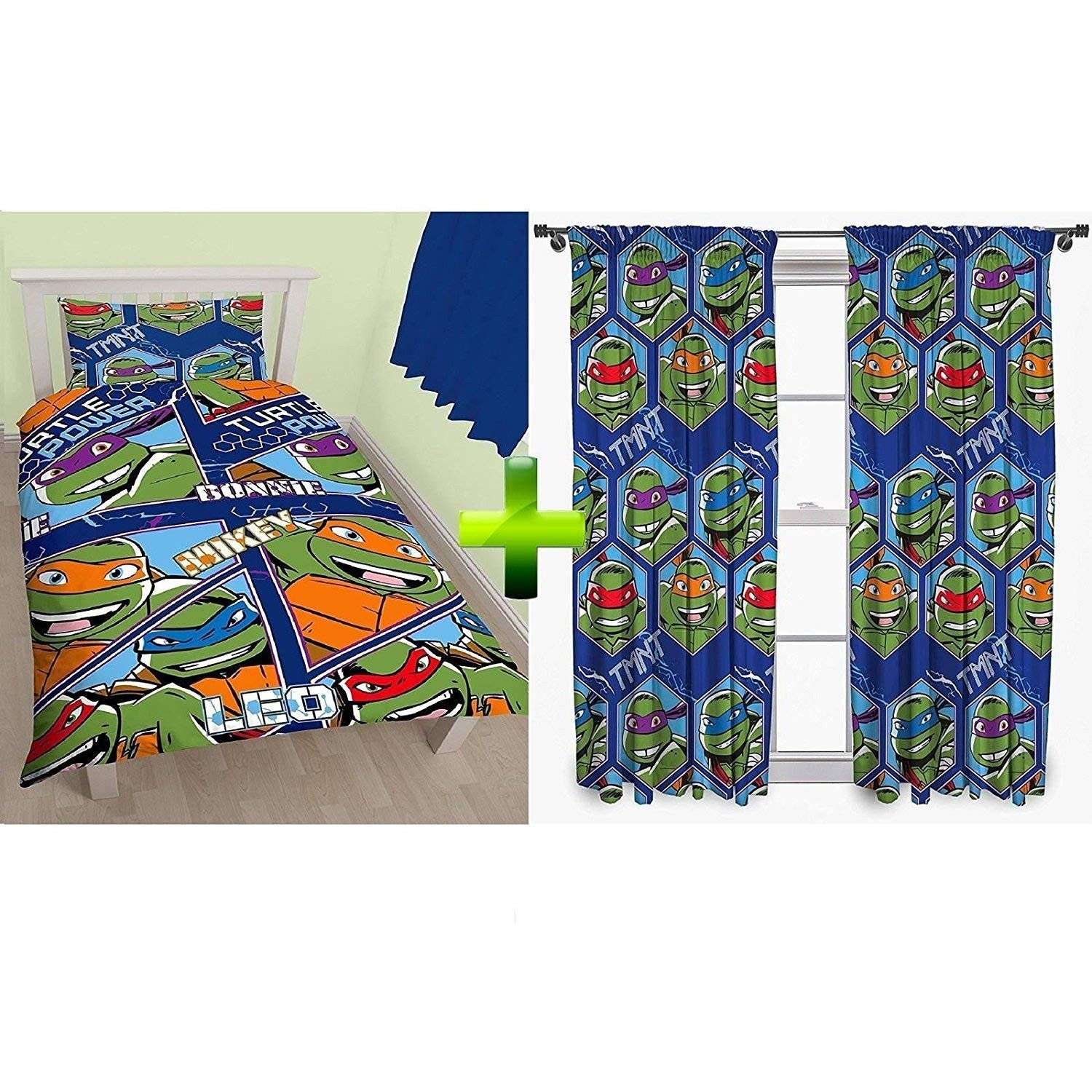 "Ninja Turtle Bedroom Set Awesome Teenage Mutant Ninja Turtles 66x54"" Curtains Tmnt Single Duvet Set Quilt Cover Bedding"