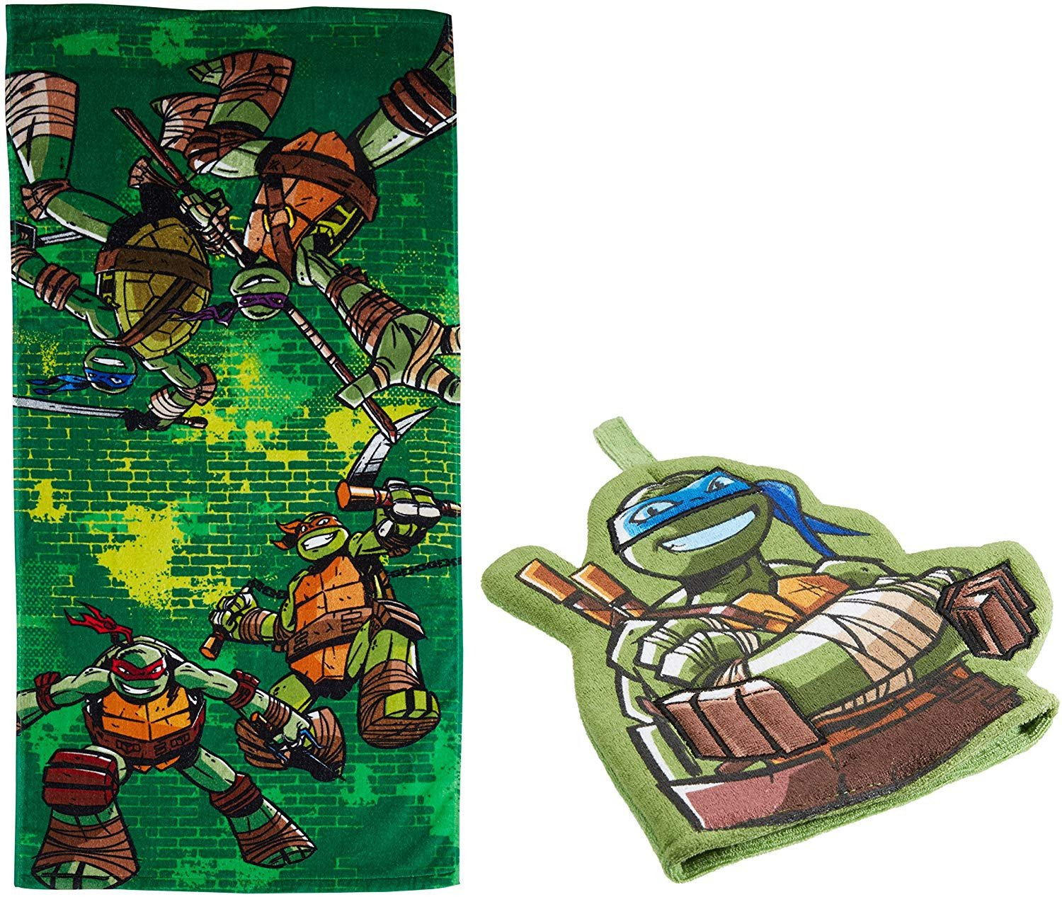 Ninja Turtle Bedroom Set Unique Nickelodeon Teenage Mutant Ninja Turtles 2 Piece Bath towel and Bath Mitt Set