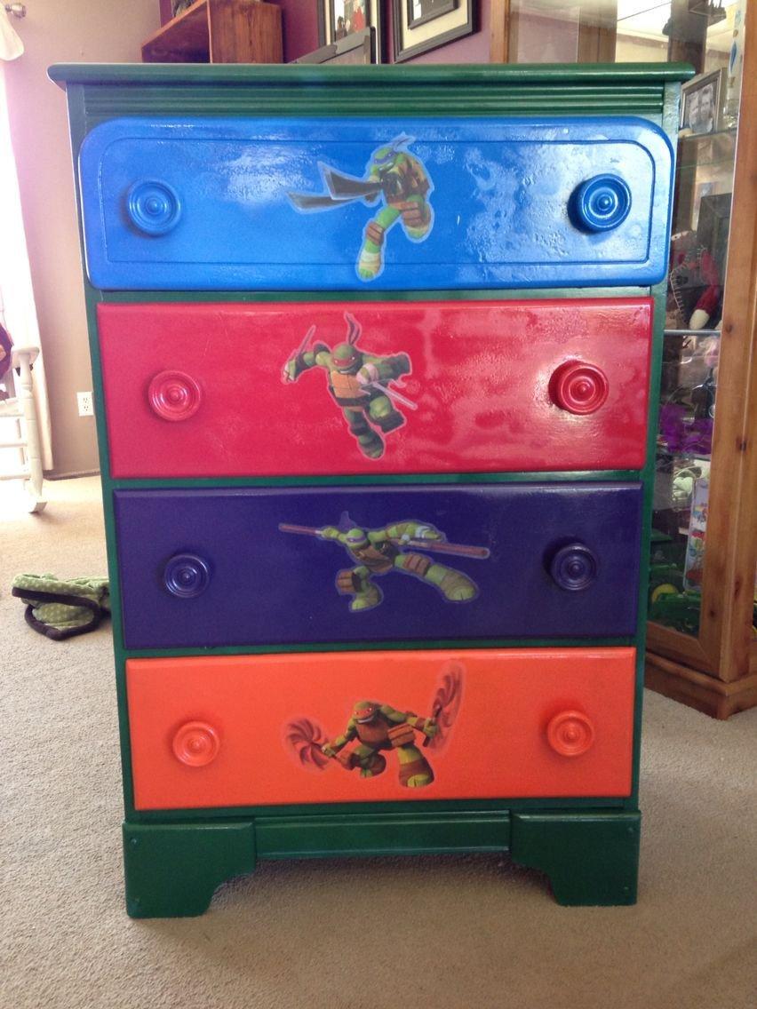 Ninja Turtles Bedroom Ideas Inspirational Painted My sons Dresser Ninja Turtle Style