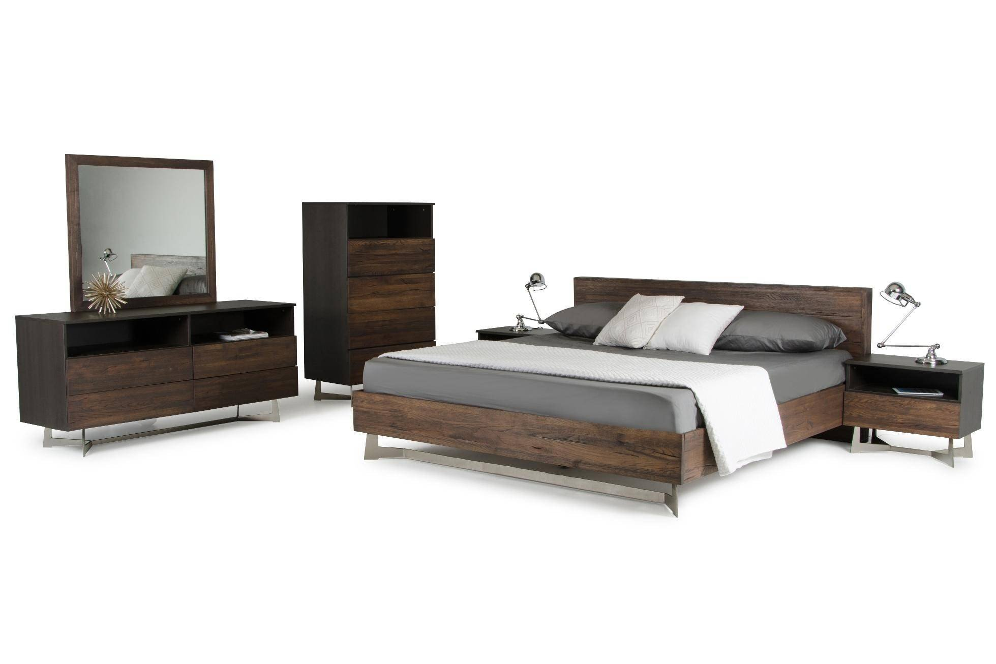 Oak King Bedroom Set Beautiful Vig Modrest Wharton Dark Aged Oak King Bedroom Set 2pcs