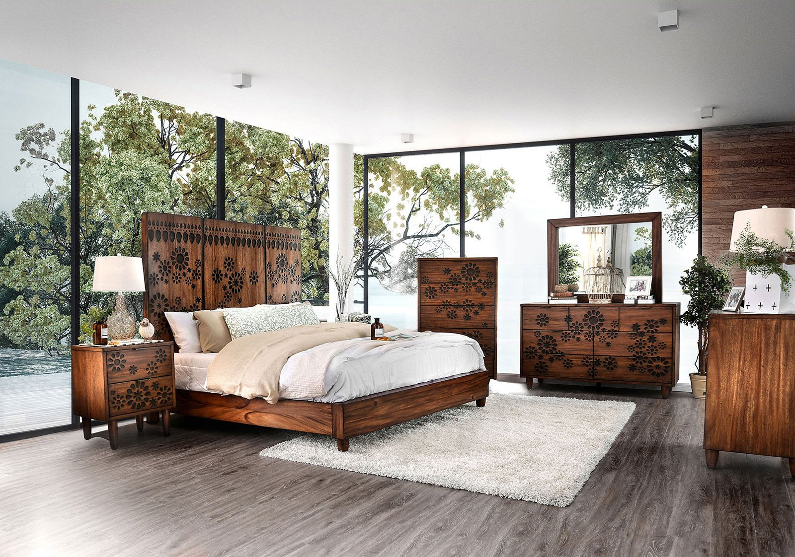 Oak King Bedroom Set Lovely Furniture Of America Amarantha Panel Bedroom Set In Dark Oak