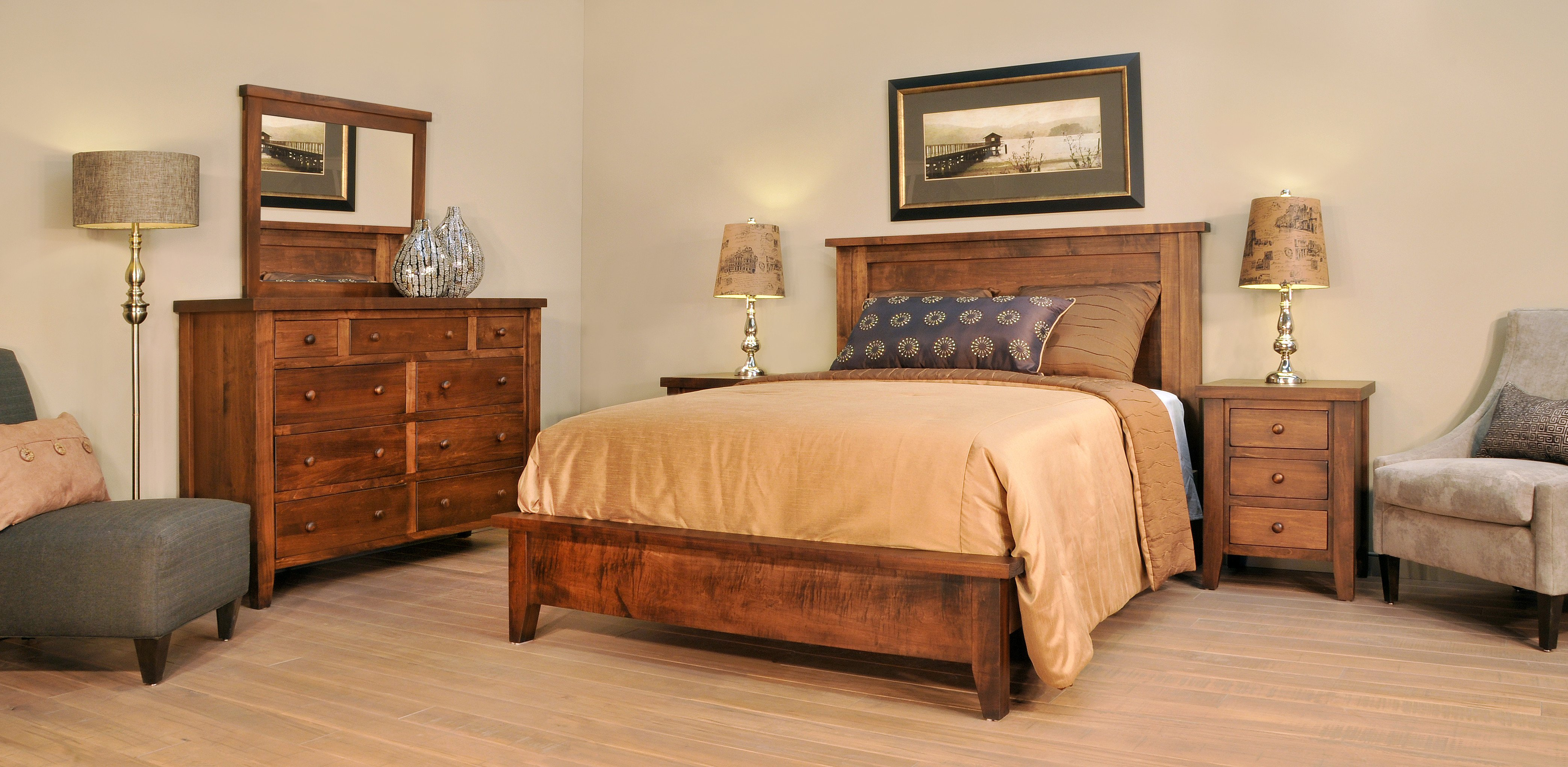 Oak King Bedroom Set New Farmhouse Bed Collection – Amish Oak Warehouse