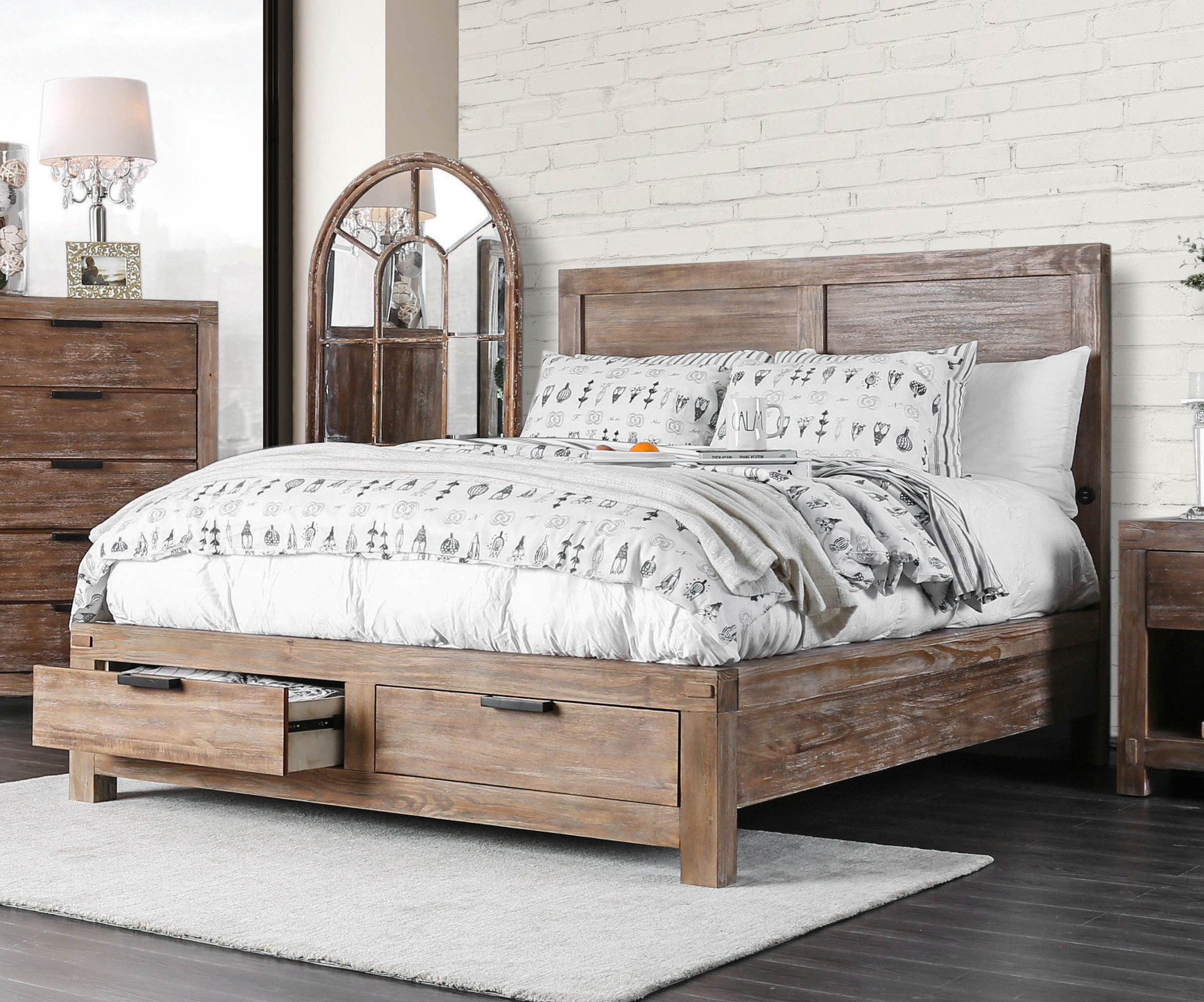 Oak King Bedroom Set New Perrie Transitional California King Storage Bed Weathered