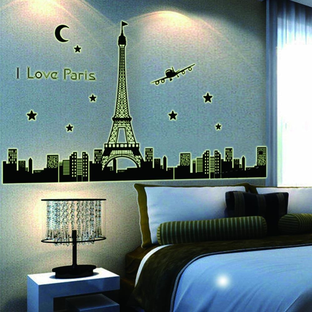 Paris Decor for Bedroom Fresh Paris Night Eiffel tower Decoration Luminous Wall Stickers Home Living Room Bedroom Decals Glow In the Dark Customized Wall Decals Damask Wall Decals